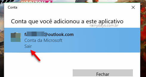 Sair da conta logada na Microsoft Store