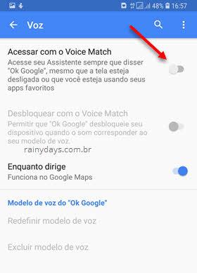 Acessar com Voice Match Google Assistente