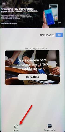 app Samsung Pay Início