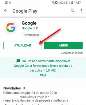 Atualizar Google app Android