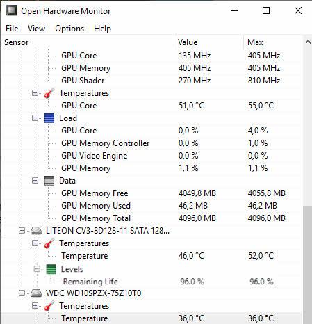 Janela Open Hardware, como saber se SSD está com problemas