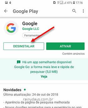 desinstalar Google app Google Play