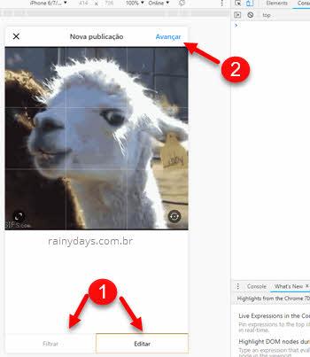 Editar filtro imagem Instagram no Chrome computador