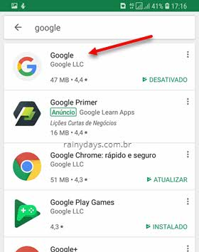Google Play app do Google