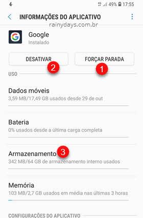 Informações do aplicativo Google Forçar Parada Desativar