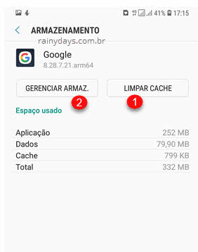 limpar cache gerenciar armaz Google Android