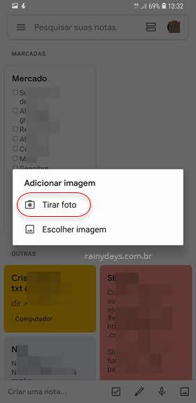 Tirar foto Google Keep Android