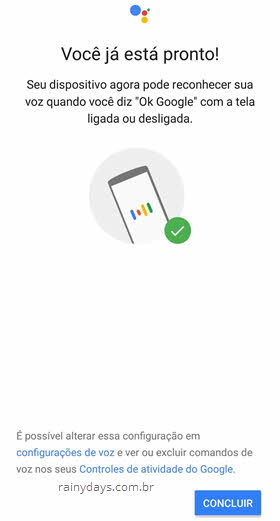 Você está pronto, configurações de voz Ok Google Assistente