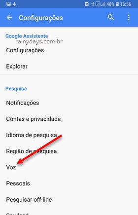 Voz configurações Google Assistente