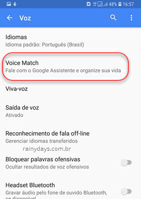 Voz Voice Match Google Assistente