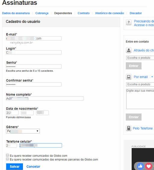 Cadastro do usuário dependente na Globo para Globoplay