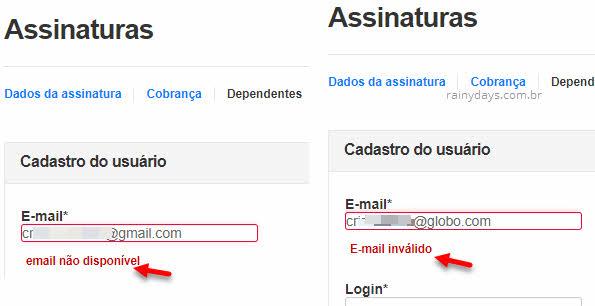 Email não disponível, email inválido dependente Globo