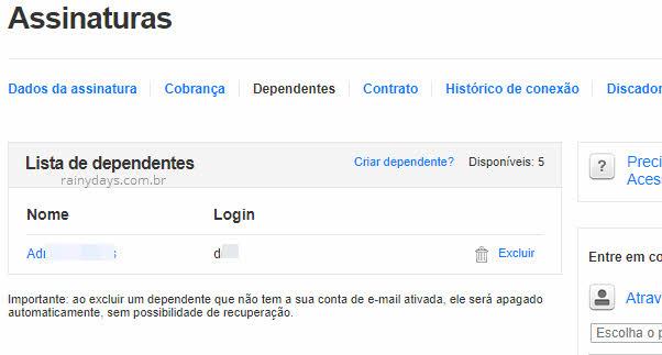 Lista de dependentes assinatura Globo