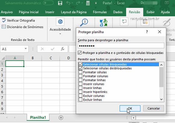 Proteger planilha do Excel contra edição restringir