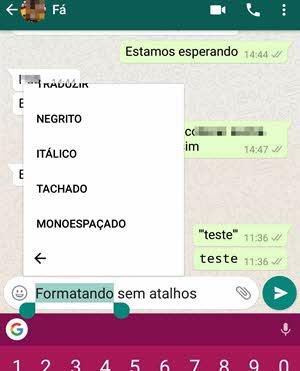 Selecionar texto no WhatsApp para formatar