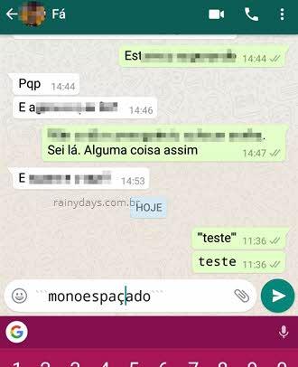 texto monoespaçado no WhatsApp