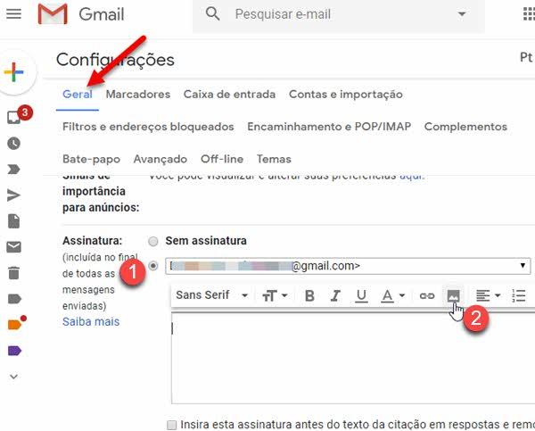 Aba geral Gmail assinatura adicionar imagem