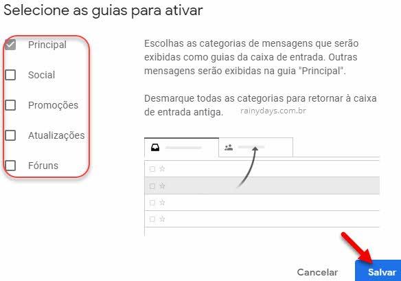 Como ativar ou desativar abas do Gmail
