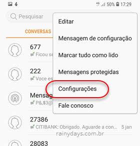 Configurações SMS Samsung