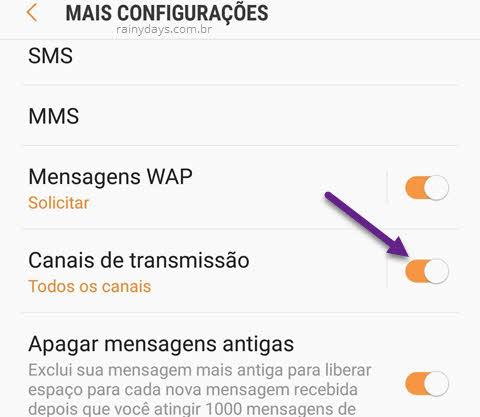 Desativar mensagens broadcast no Samsung transmissão