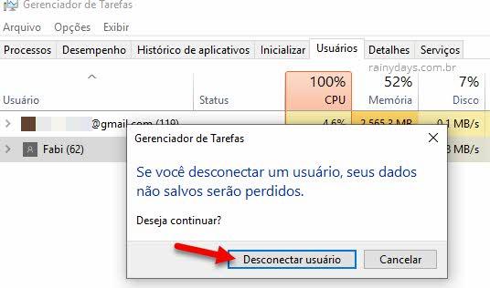 Desconectar usuário do Windows pelo Gerenciador de Tarefas
