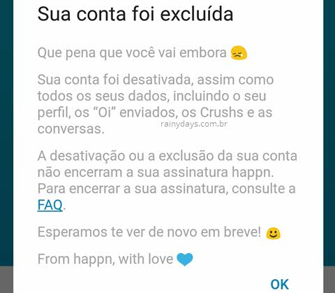 Como excluir conta do Happn