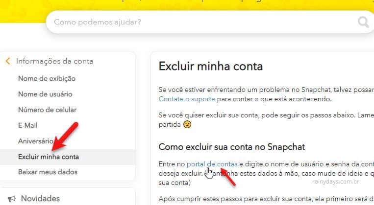 excluir minha conta portal de contas suporte Snapchat