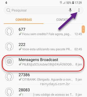 ícone três bolinhas SMS mensagens broadcast Samsung Android