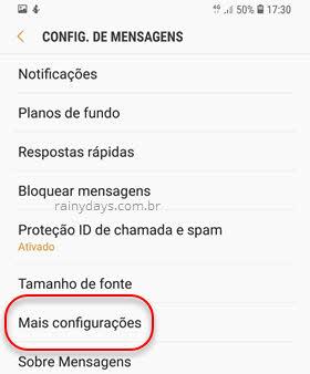 Mais configurações de mensagens SMS Samsung