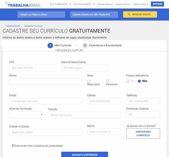 Cadastrar no Trabalha Brasil SINE