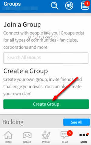 create group no Roblox mobile