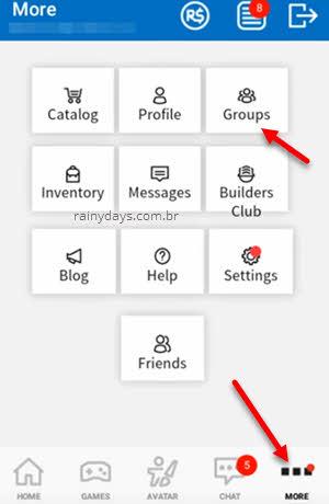 criar grupo no Roblox pelo celular