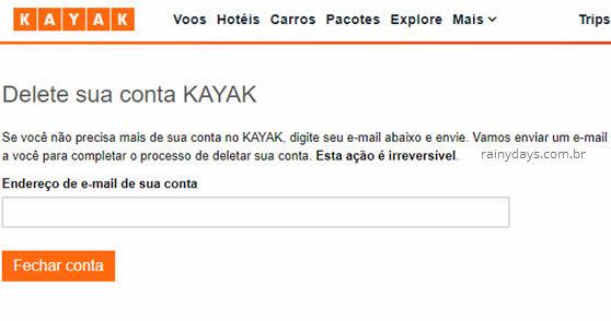 Excluir conta do Kayak