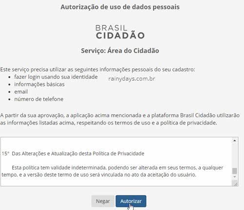 Alerta autorização de acesso dados Brasil Cidadão