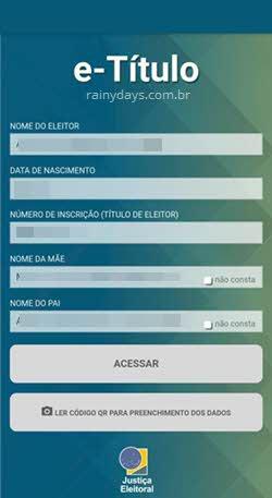 app e-Título login dados Justiça Eleitoral
