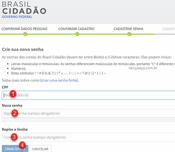 Cadastrar senha Brasil Cidadão para certificado internacional de vacinação online