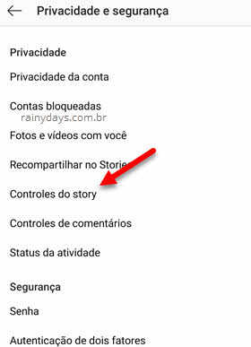 Controles do story app Instagram bloquear compartilhamento