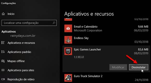 desinstalar Epic launcher Windows