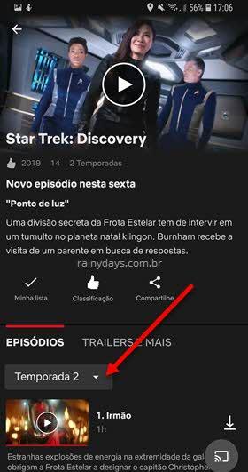 escolher temporada de série pelo aplicativo Netflix