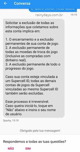 Excluir conta Supercell pelo jogo celular