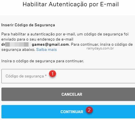 Ativar autenticação em dois fatores no Fortnite por email