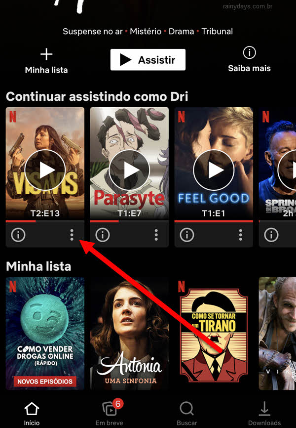ícone três bolinhas na foto do programa Netflix