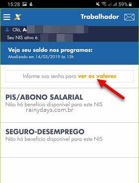 informa senha para ver valores Caixa app