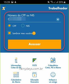 login app Caixa Trabalhador