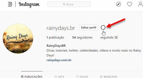 perfil icone engrenagem configurações Instagram web