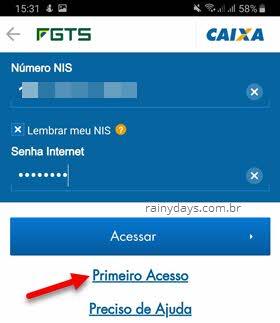 Primeiro acesso app FGTS Caixa