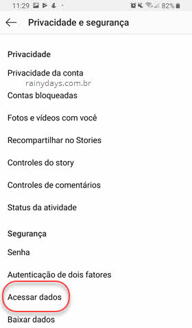 privacidade acessar dados instagram app