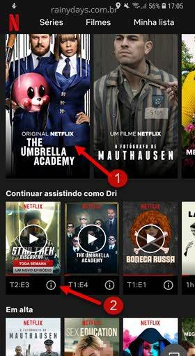 selecionar série no aplicativo Netflix