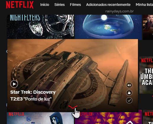 setinha para baixo selecionar temporada série Netflix