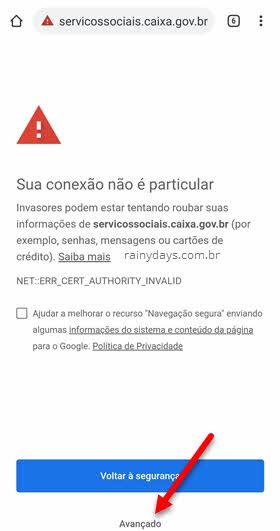 site Caixa conexão não particular celular